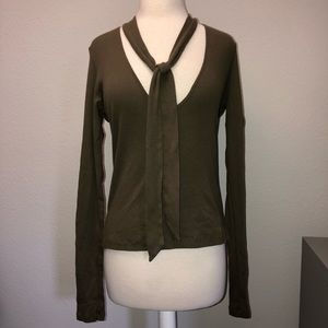 RARE Brandy Melville Olive Green Neck Tie Top